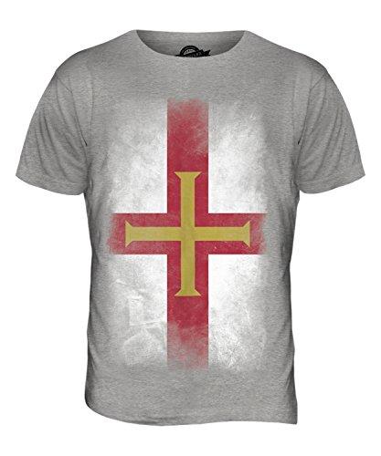 CandyMix Guernsey Verblichen Flagge Herren T Shirt Grau Meliert
