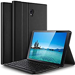 IVSO Tastatur Hülle für Samsung Galaxy Tab A 10.5 SM-T590/T595,[QWERTZ Deutsches], magnetisch abnehmbar Tastatur für Samsung Galaxy Tab A SM-T590/SM-T595 10.5 Zoll 2018, Schwarz