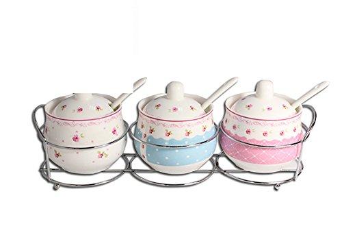 Pastorale vento tre pezzi in ceramica set jar spezie/fresco/cucchiaio con coperchio con STAFFA-A