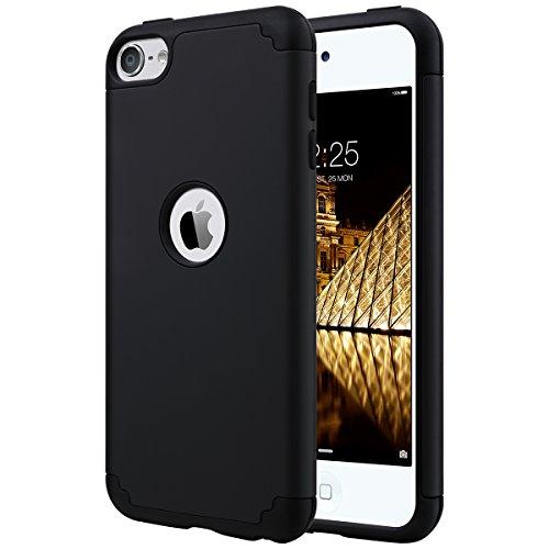 Ulak cover per ipod touch 7 (2019), ipod touch 6/5 cover custodia ibrida rigida super protettiva con doppio strato in silicone case per apple ipod touch 7th/6th/5th gen (nero)