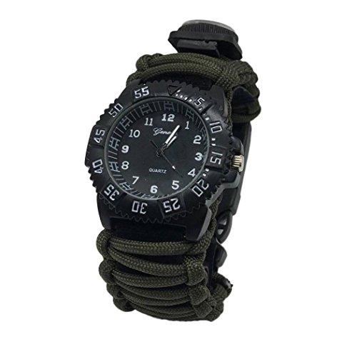Hunpta Überleben Armband mit Uhr Kompass Feuerstein Feuer Starter Schaber Pfeifen Gear (E) (Feuer-starter-überlebens -)
