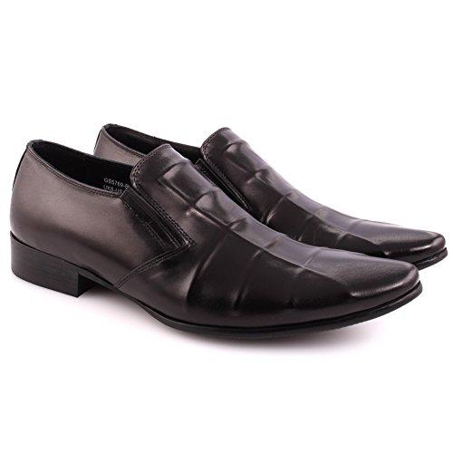 Unze Männer Leder Beleg auf 'Kuba' Party Prom Büro Hochzeit Convocation Formale Kleid Loafer Stiefel UK Größe 7-11 - A25-61R Schwarz