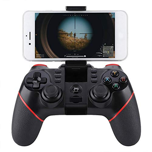 Kabelloses Gamepad, Bluetooth Wireless Handy Gamepad Gaming Controller mit Halterung einstellbar für Smartphone/Tablet/Smart TV, Set-Top-Box/PC/PS3