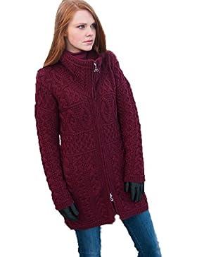 100% lana Merino Aran Crafts Ladies doble cuello abrigo vino