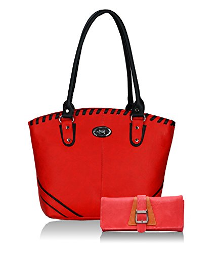 Fristo Women Handbag and Wallet Combo(FRWC-061)Red and Black