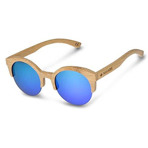 Navaris Sonnenbrille UV400 - Damen Herren Retro Holz Brille Holzoptik - Unisex Bambus Holzbrille mit...