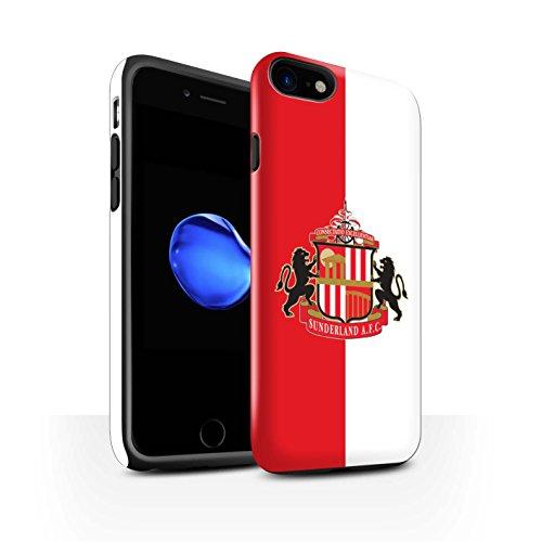 Offiziell Sunderland AFC Hülle / Glanz Harten Stoßfest Case für Apple iPhone 8 / Schwarz Muster / SAFC Fußball Crest Kollektion Rot/Weiß