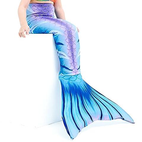 Dressyday Fille Maillot de Bain Queue de Sirène Déguisement de Sirène pour Enfant (PAS de Flipper) (Enfant 10, Bleu clair)