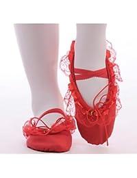 "Kids' Ballet Flats Lienzo Práctica Talón Plano Rubor Rosa Almendra Ruby Negro Blanco bajo 1"",Negro,US3.5/UE35/UK2.5Big Kids"