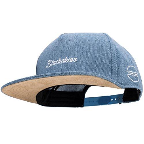 Blackskies Eos Snapback Cap Jeans Blau Schirm Unisex Premium Baseball Mütze Kappe Denim