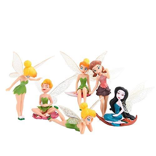 MateCam Feen-Figuren, verschiedene Miniatur-Figuren mit Blumen, Garten, Blumentopf, Puppenhaus-Dekoration, 6Stück (Kleine Feen Figuren)