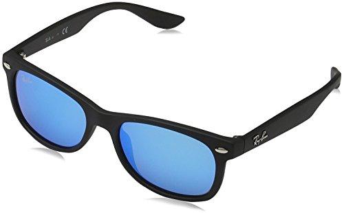 Ray-Ban Unisex Sonnenbrille New Wayfarer Junior, (Gestell: Schwarz, Gläser: Blau verspiegelt 100S55), Medium (Herstellergröße: 47)