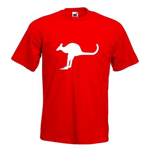 KIWISTAR - Känguru Kangaroo Beuteltier T-Shirt in 15 verschiedenen Farben - Herren Funshirt bedruckt Design Sprüche Spruch Motive Oberteil Baumwolle Print Größe S M L XL XXL Rot