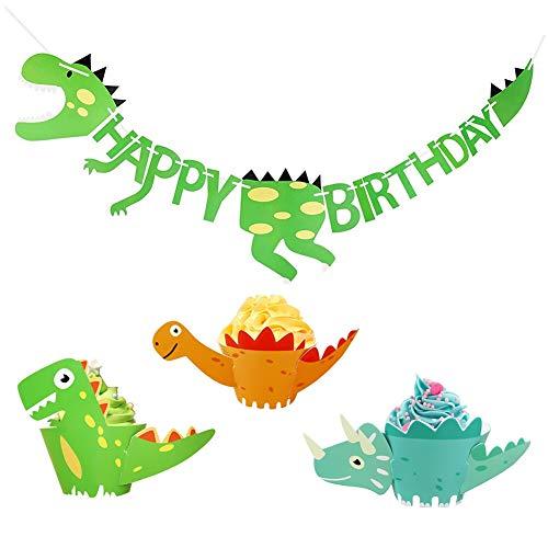 osaurier Cupcake Wrapper mit Geburtstag Banner Dinosaurier Kuchen Dekoration Jurassic Cupcake Toppers Partyzubehör für Kinder ()