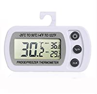 Refrigerator Thermometer [Waterproof], UCMDA Wireless Digital Fridge Freezer Thermometer with LCD Display and Max/Min Function for Home, Restaurants - White