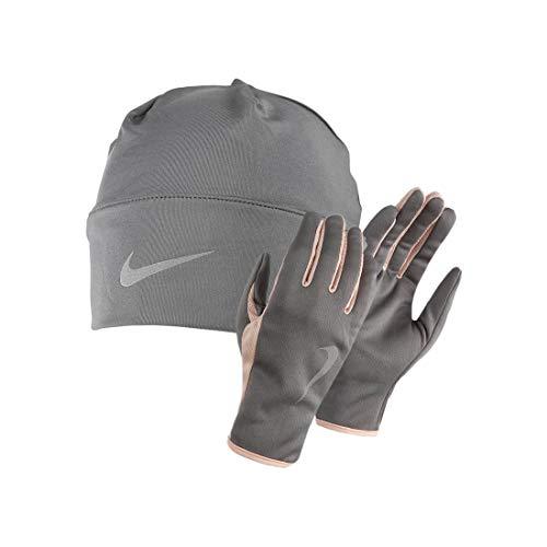 Nike Women's Run Dry Hat and Glove Set gunsmoke/storm pink M/L (Winter Nike Stirnband)