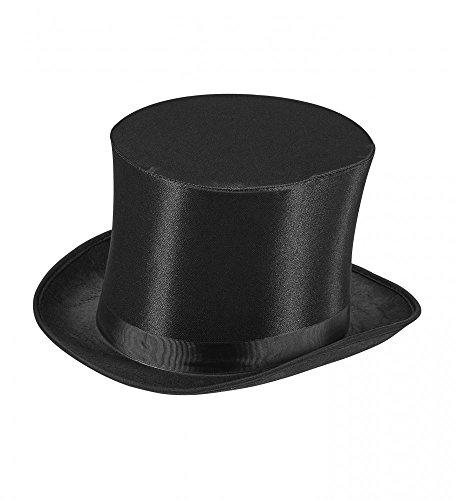 Schwarzer Satin-Zylinder für Damen und Herren Gr. 59 Gentleman Edelmann WID