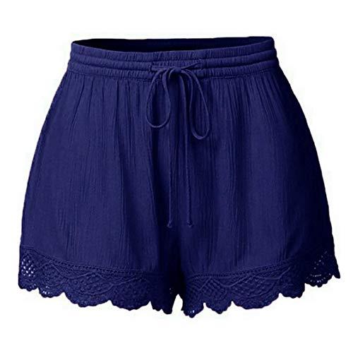 Shorts Damen Sommer Kurze Hosen Tunnelzug Elastische Stoffhose Solide Baumwolle Leinen Strand Shorts mit Taschen Spitze Plus Size Rope Tie Shorts Hosen Leggings Hosen (Workout Womens Plus Shorts)