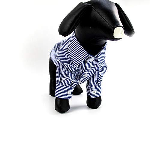 Frühling Und Sommer Neue Haustierkleidung Puffärmel Gestreiften Hund Schlanke Kleidung Hemd Haustierkleidung Für Kleine Und Mittlere Haustiere Geeignet,Blau,L (Einzigartige Kostüm Für Hunde)