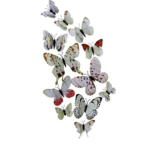 Vovotrade® 12 Pcs 3D Stickers muraux Papillon Aimant pour Décoration Nouveau (Blanc7)