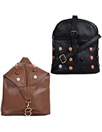 Fillincart Women Brown And Black Colour PU Material Pack Of 1 Sling Bag And 1 Back Pack Bag