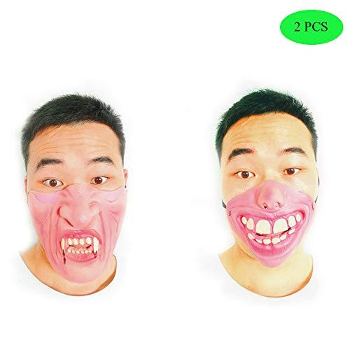 esicht Lustige Scary Atmungs Latex Masken Cosplay Kostüm Halloween Party Streich Prop Großer Zahn+Vampir(2Pcs ()