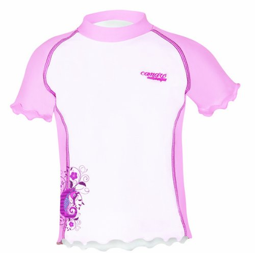 Camaro Kinder Lycra Shirt Toddler Shirt Girls, Weiss-rosa, 74 -