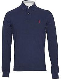 Ralph Lauren Polo - Camiseta de manga larga, azul marino, negro y blanco, rojo y gris, algodón, Blanco, large