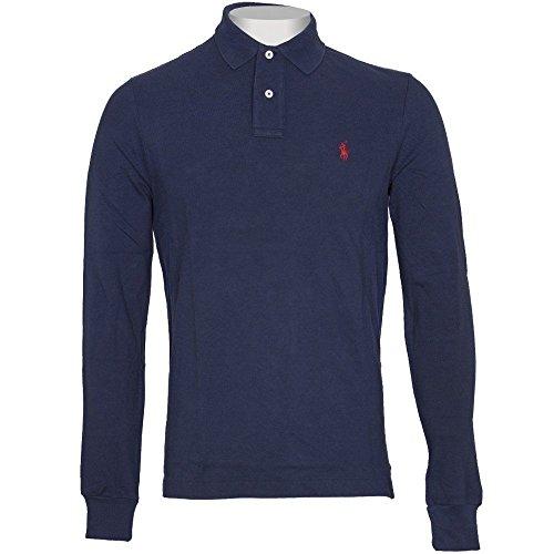 Ralph Lauren Polo Long Sleeve Shirt Top Herren Custom Fit Solid Mesh Weiß Schwarz Navy Rot Grau, baumwolle, navy, M (Größentabelle Ralph Polo Lauren)