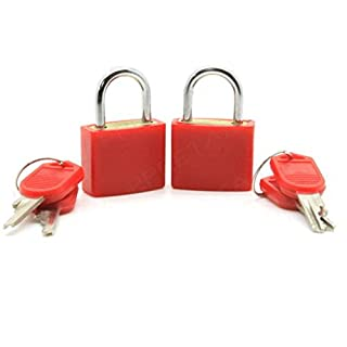 Distinct® 2pcs Travel Tiny Suitcase Lock Drawer Cabinet Toolbox Padlock Gym Lockers Keys(Red)