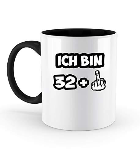 PlimPlom Ich bin 32 + Kaffeetasse 33. Geburtstag Spruch Tasse Für Kaffee Tee Kakao - Geschenk Idee - Zweifarbige Tasse -330ml-Schwarz