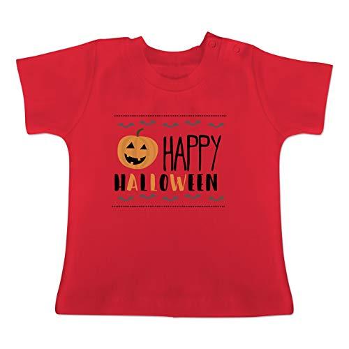 Halloween Baby - Happy Halloween Kürbis - 18-24 Monate - Rot - BZ02 - Baby T-Shirt Kurzarm (Am Halloween-kostüm 2019 Besten Ideen)