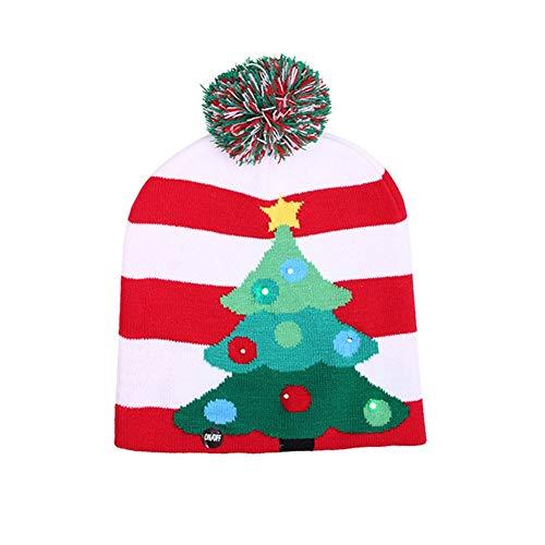 Dewanxin LED Light-up gestrickt hässliche Pullover Urlaub Weihnachten Weihnachtsmütze - 3 blinkende Modi (FA La La Beanie) (A)