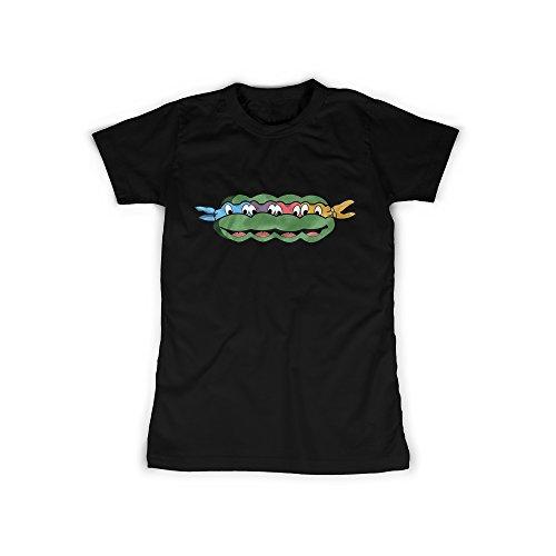 t mit Aufdruck in Schwarz Gr. S Ninja Schildkröte Comic Design Girl Top Mädchen Shirt Damen Basic 100% Baumwolle Kurzarm (Super Bösewicht Outfits)