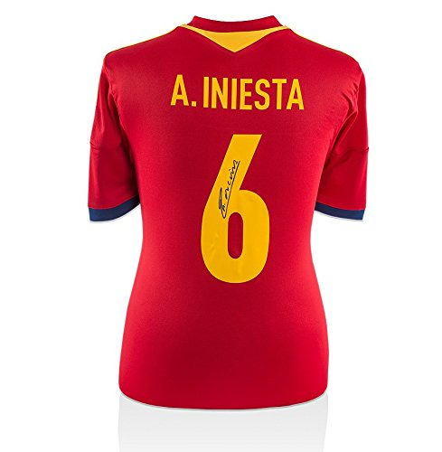 Icons-Shop-Unisex-ICAISS1-Andres-Iniesta-Back-Signed-Spain-2016-Home-Shirt-Multi-Colour