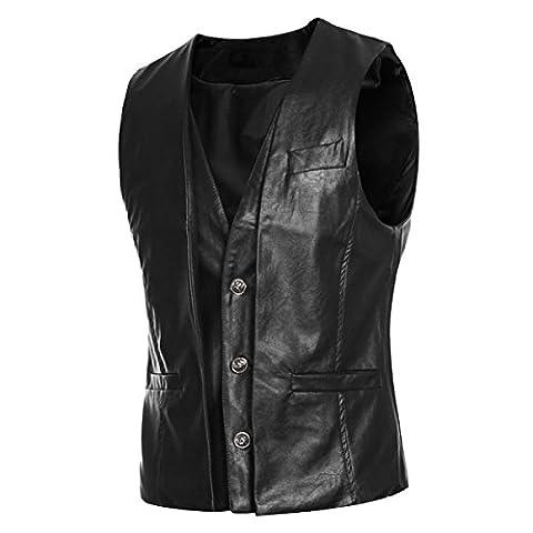 DPCER. Mode Gefälschte Zwei Stücke Von Design Männer PU-Lederweste,Black-XL