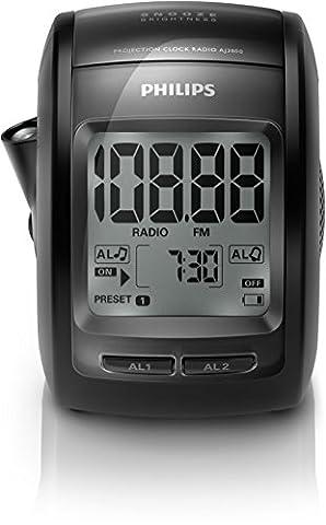 Philips AJ3800 Radio réveil projecteur avec Tuner FM, luminosité réglable, double alarme, batterie de secours, Noir