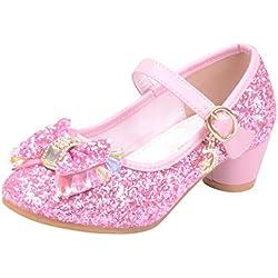 Meilleure Vente!Chaussures Princesse Fille,LuckyGirls Fille Chaussures Ballerine a Talon Paillettes Brillants Respirable Comfortable
