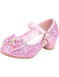 5d91f4ab9ab Mitlfuny Zapatos de Tango Latino para Niños Vestir Fiesta Arco Princesa  Sandalias Perla Rhinestone Lentejuelas Zapatitos
