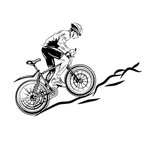 Junge Reiten Mountainbike Wandaufkleber Moderne Transparente Aufkleber Vinyl Abnehmbare Truck Race Mode Tapete 57x78 Cm (Farbe : 57x78cm)