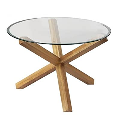Oporto Dining Table - Solid Oak Criss Cross Base, Round Glass Top - W105cm