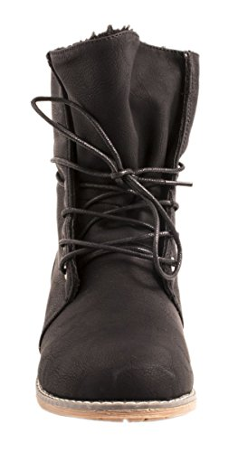 Elara Damen Stiefelette | Biker Boots | Trendy Lederoptik Noir - Noir
