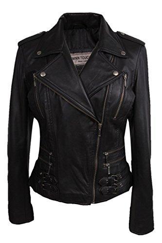 Brandslock Damen Leder Motorradjacke Bikerjacke schwarz Einbau Bikers Art Weinlese Felsen (3X-Large 18, schwarz)