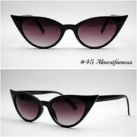 Gattino (piccolo) Nero VTG 50s/60s da donna, stile occhi di gatto occhiali da sole occhiali retrò Rockabilly Vintage Mondo Eye Wear