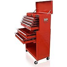 US Pro Tools - Carro de herramientas, con separadores en cajones, color rojo