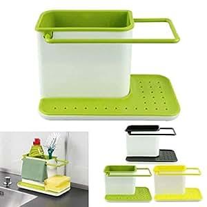 3 IN 1 Kitchen Sink Organizer for Dishwasher Liquid, Brush, Cloth, Soap, Sponge, etc.