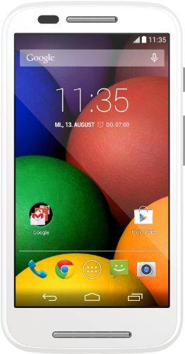Motorola Moto E Smartphone (10,9 cm (4,3 Zoll) TFT-Display mit 256 PPI, 5 Megapixel Kamera, 1,2 GHz Dual-Core-Prozessor, 1GB RAM, 4GB interner Speicher, MicroSIM, MicroSD-Slot, Android 4.4.2 KitKat) weiß