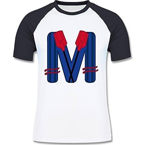 Anfangsbuchstaben - M Schifffahrt - zweifarbiges Baseballshirt für Männer  Weiß/Navy Blau