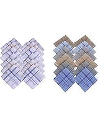 S4S Men's 100% Cotton Handkerchief (White Striped & Multicolor_Pack of 24)