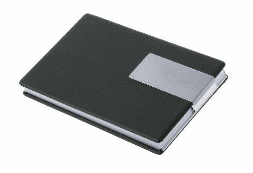 WEDO Visitenkartenbox Good Deal, Aluminium/PVC (schwarz) Kombination aus Aluminium und PVC in Lederoptik, für ca. 18 Visitenkarten bis 90 x 57 mm, Maße: (B)95 x (T)60 x (H)10 mm, im schwarzen Geschenkkarton (205 6601)